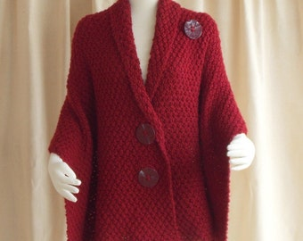 Hand Knit Shawl, Knit Cape, Knit Wrap, Knit Poncho, Chuncky Cherry Red, Plus Sizes Available, Handmade