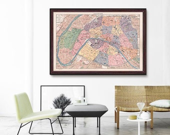 Paris Vintage Map 1900, Paris France, Paris City Map, Vintage Paris Map, Vintage Map- CP100