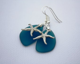 Teal Sea Glass Earrings, Star Fish Starfish Earrings Seaglass Earrings Starfish Jewelry Sea Glass Jewelry Beach Jewelry Seaglass Jewelry 069