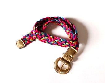 """vintage 80s belt, braided satin rope in neon colors - fits up to 35.5"""""""