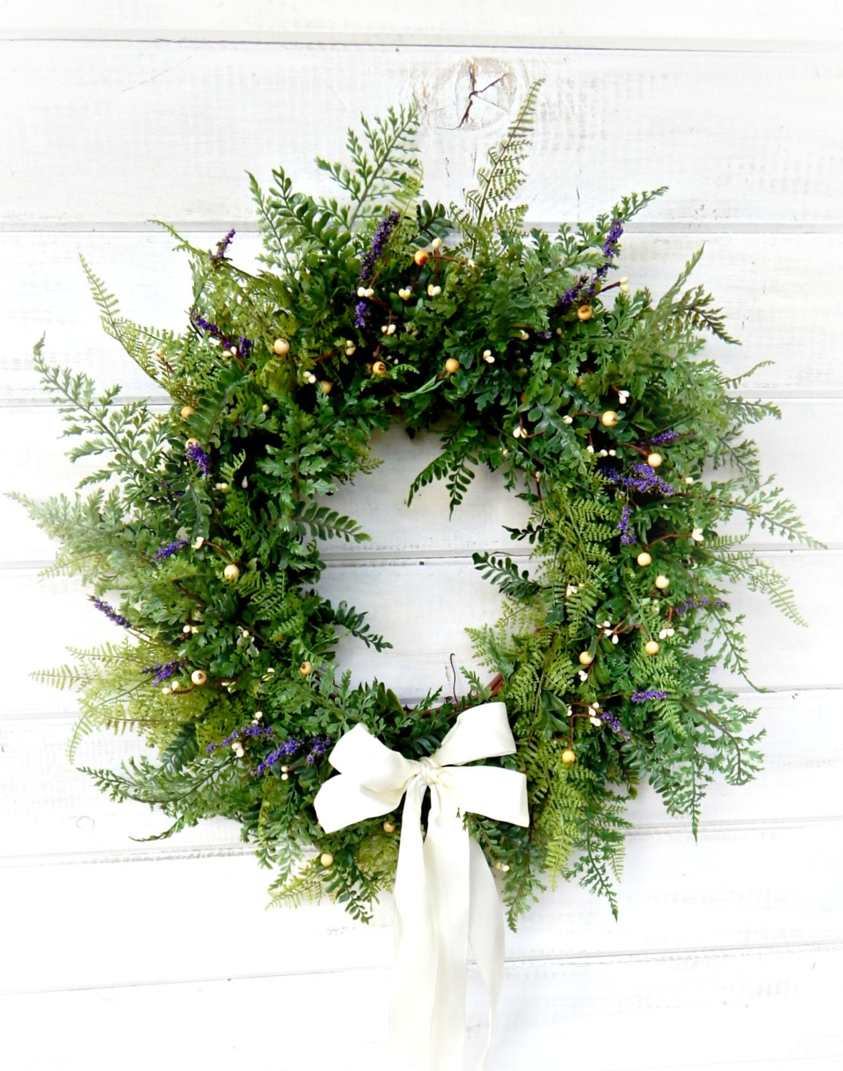 Fern Wreath-Summer Wedding Wreath-PURPLE & WHITE FERN Wreath-Front ...