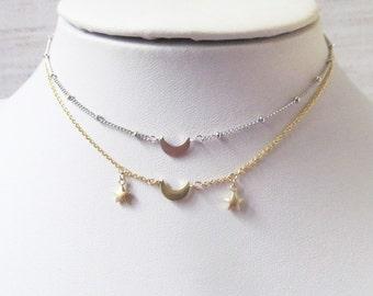 crescent moon choker necklace,crescent moon gift, moon necklace, moon jewelry, crescent moon necklace, celestial necklace, celestial jewelry