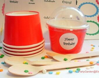25 Red Ice Cream Cups - Small 8 oz