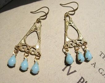 RAIN in PARIS Filigree and Vintage Glass Earrings