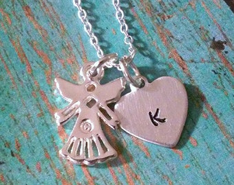 Memorial Necklace - Memorial Jewelry - Guardian Angel - Angel Necklace - In Memory Of - Angel in Heaven - Loss of a Loved One-Heart Necklace