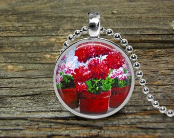 Necklace With Flowers-Red Geraniums-Original Oil Painting-Free Shipping-Wedding-Bride-Mothers Day Gift-Mother of the Bride-Girlfriend Gift
