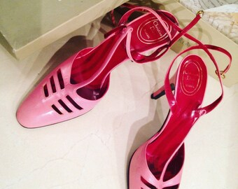 Christian Dior - pair of shoes open leather pink - new-