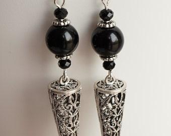 Very nice Filigree Spike with black Onix beads Earrings Goth Dangle