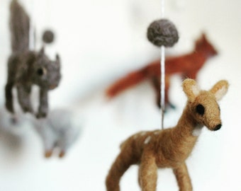 Custom Woodland Creatures Needle-felted Mobile