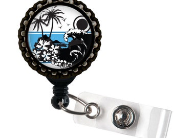 Island Bound - Black Retractable Badge Reel ID Holder