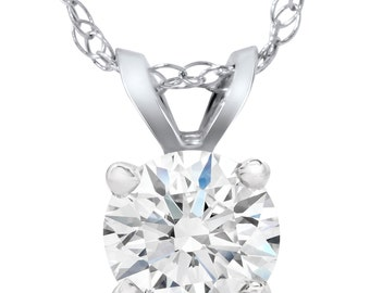 Solitaire Lab Grown Diamond Pendant 14K White Gold 1/2 Carat Round Brilliant Cut Excellent Cut Ideal Carbon Diamond 14k White Gold Round Cut