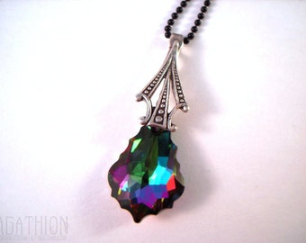 Art Deco Triangle Swarovski Baroque Pendant Necklace Electra Multicolor on black ball chain