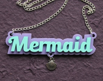 Mermaid lilac and mint pendant with silver shell charm on silver chain necklace