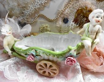 Lefton Cherubs Porcelain Carriage