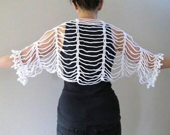Pure White Color Crocheted Lacy  Summer Shoulder Shrug Wedding Bolero Sleeves