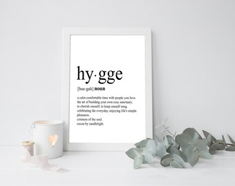 Hygge Print, Scandinavian Print, Definition Print, Definition Poster, Dictionary Art Print, Minimalist Home Decor, Bathroom Wall Art