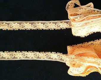 Vintage orange floral lace