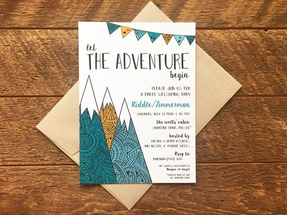 Adventure Theme Baby Shower Invitation Mountain Baby Shower