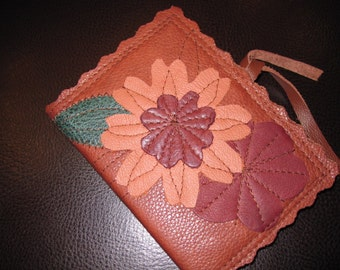 Small Leather Journal  with Pink Flower Applique