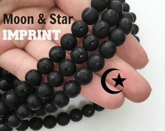 Black Onyx, Matte Beads, Celestial Beads, Moon Beads, Star Beads, Rare Beads, 8mm Beads, Carved Beads, Black Beads Frosted Beads Matte Black