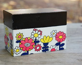Vintage 60s Metal Recipe Box/File Box By Ohio Art/Retro/Mid Century