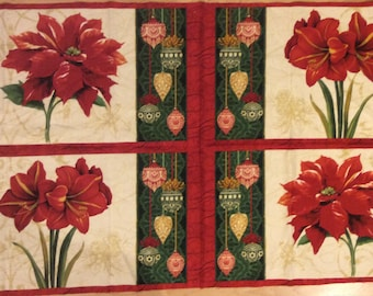 A Wonderful Christmas Holiday Magic Poinsettia Floral Placemat Fabric Panel Free US Shipping