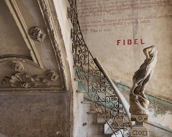 "Abandoned Photography Print, Fine Art Photography, Urban Art, Urban Decay, Cuba Architecture Print, Havana Staircase, Urbex ""Fidel"""