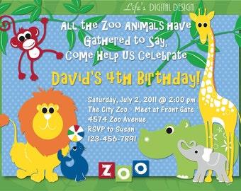 Jungle Animal Invitation Birthday Customizable Printable