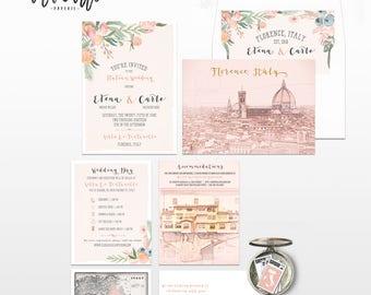 Destination wedding invitation Tuscany Florence Italy Wedding Invitation Suite in Floral Blush Pink  - European wedding - Deposit Payment