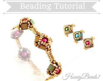 PDF-file Beading Pattern Tilaria Bracelet & Ring with Tila beads Beading Tutorial by HoneyBeads1