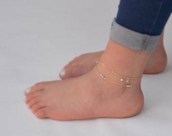 day jewelry moon bracelet anklets foot anklet c body il etsy crescent opal beach ankle mothers gift for her