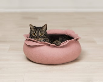 Cat bed house cave ash rose flower felted cat bed