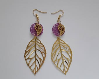 Purple and gold leaf filigree earrings
