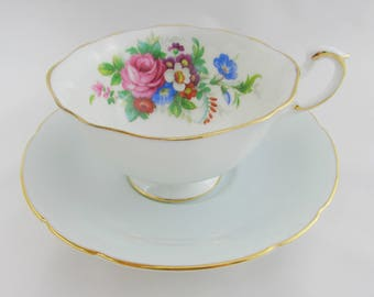 Paragon Tea Cup and Saucer, Pale Grey Blue with Flowers, English Bone China, Vintage Tea Cup