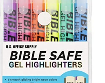 Bible Safe Gel bible highlighter 6 Bright Neon Colors Won't Bleed Fade or Smear Study Guide pastel highlighters Bible Journaling Pen