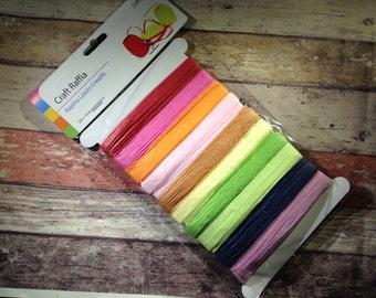 Rainbow paper ribbon raffia (20m)