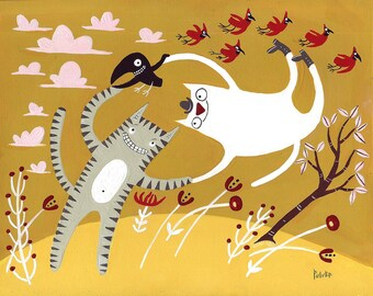 Dancing Cats With Birds Art Print - 8x10 Art Illustration in Gold and Grey, Yellow, Red, Pink, Tiger Tabby and White Cat