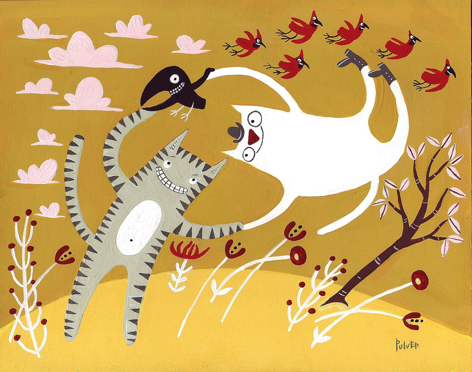 Dancing cats with birds art card funny and whimsical blank zoom kristyandbryce Gallery
