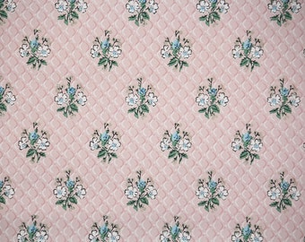 1940s Vintage Wallpaper by the Yard - Blue and White Flowers on Pink, Floral Wallpaper