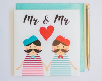Mr & Mr gay marriage greeting card