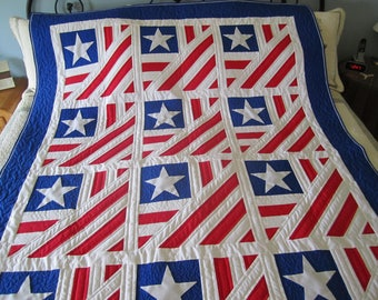 Home of the Brave, independence, red, blue, white, 4th of July, stars, stripes, twin size, Veteran, Memorial day, longarm quilted, handmade