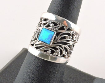Size 8 Sterling Silver Filigree 1.25ct Square Opal Wide Band Ring