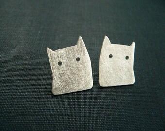 silver cat earrings, studs cat, Cat Earrings, Sterling Silver cat, Silhouette cat, cat lover gift, stud earrings sterling silver