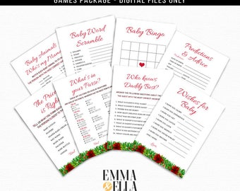 Plaid Baby Shower Games Package, Baby Shower, Printable, Games, holidays, winter, christmas, poinsettias, red buffalo, green, december, 089