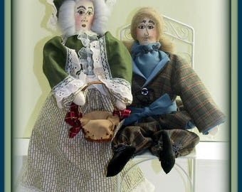 2 in 1 Grandma Aurora May - On An Expedition! and Grandpa Lewis - On An Expedition! Victorian Lady & Gentleman Art Dolls Combo E-Pattern