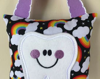 Tooth Fairy Pillow - Rainbows and Clouds Pillow with Purple Ribbon - Kids Pillow - Kids Gift