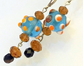 Lampwork Glass Earrings blue and orange with crystals and sterling silver drop earrings (EA27)