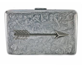Arrow Metal Wallet Inlaid in Hand Painted Enamel Silver Swirl Design Credit Card Case Personalized and Color Options