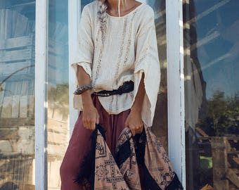 Womens Clothing-Oversized Top-White Blouse-Long Sleeve Shirt-Boho Top-Bohemian Clothing- White Tops