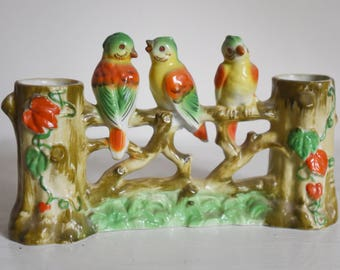 Vintage vase - planter - with sweet birds